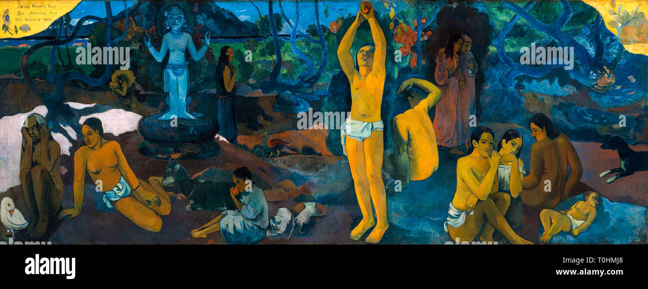Paul Gauguin, Where Do We Come From? What Are We? Where Are We Going?, painting, 1897 - Stock Image