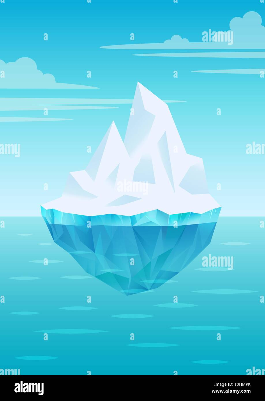 Iceberg floating on water waves with underwater part, bright blue sky with clouds, freshwater ice, glacier or ice shelf piece, vector - Stock Vector