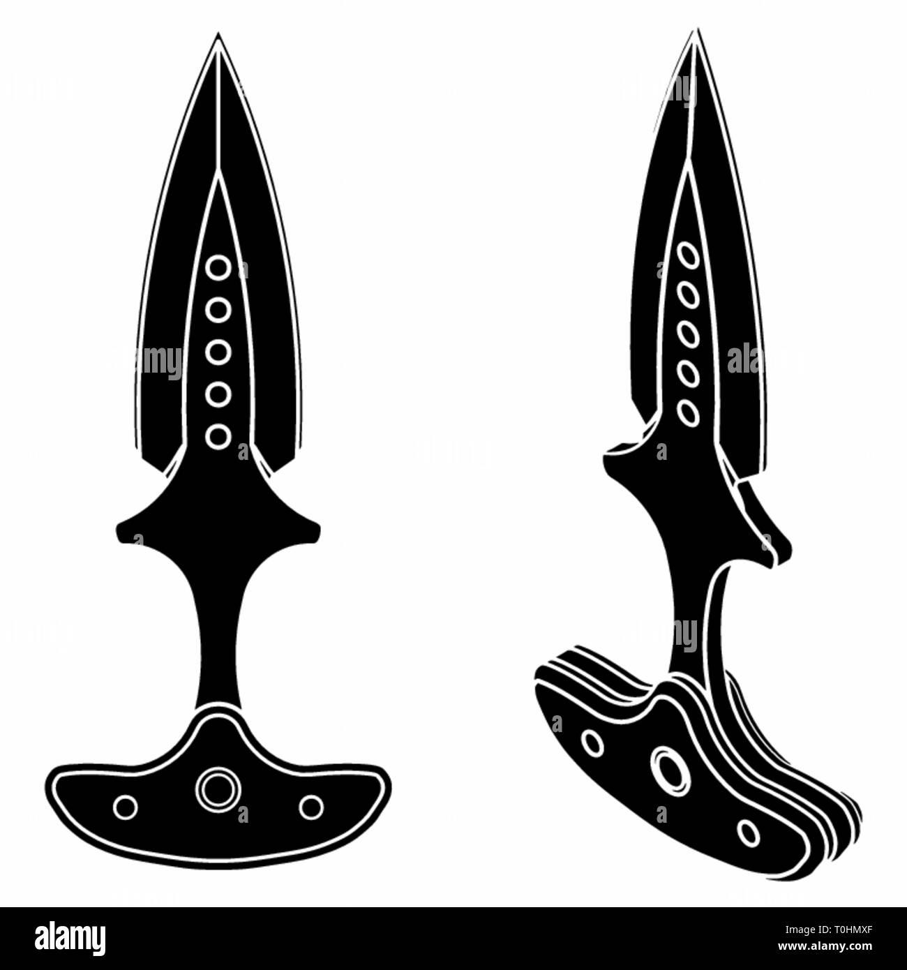Push dagger colored. Black fill. - Stock Vector