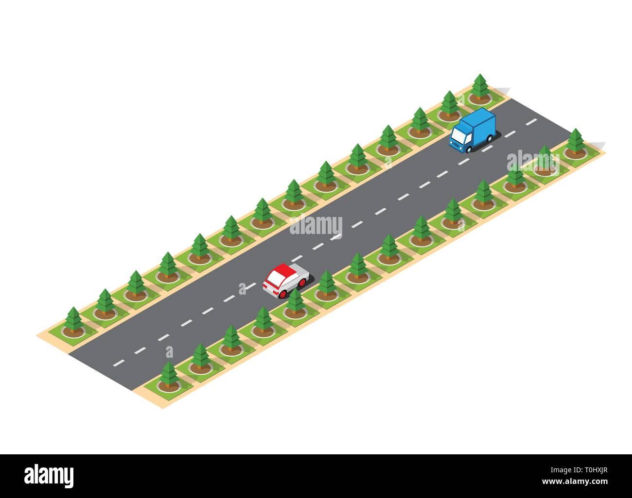 Suburban high-speed isometric - Stock Image