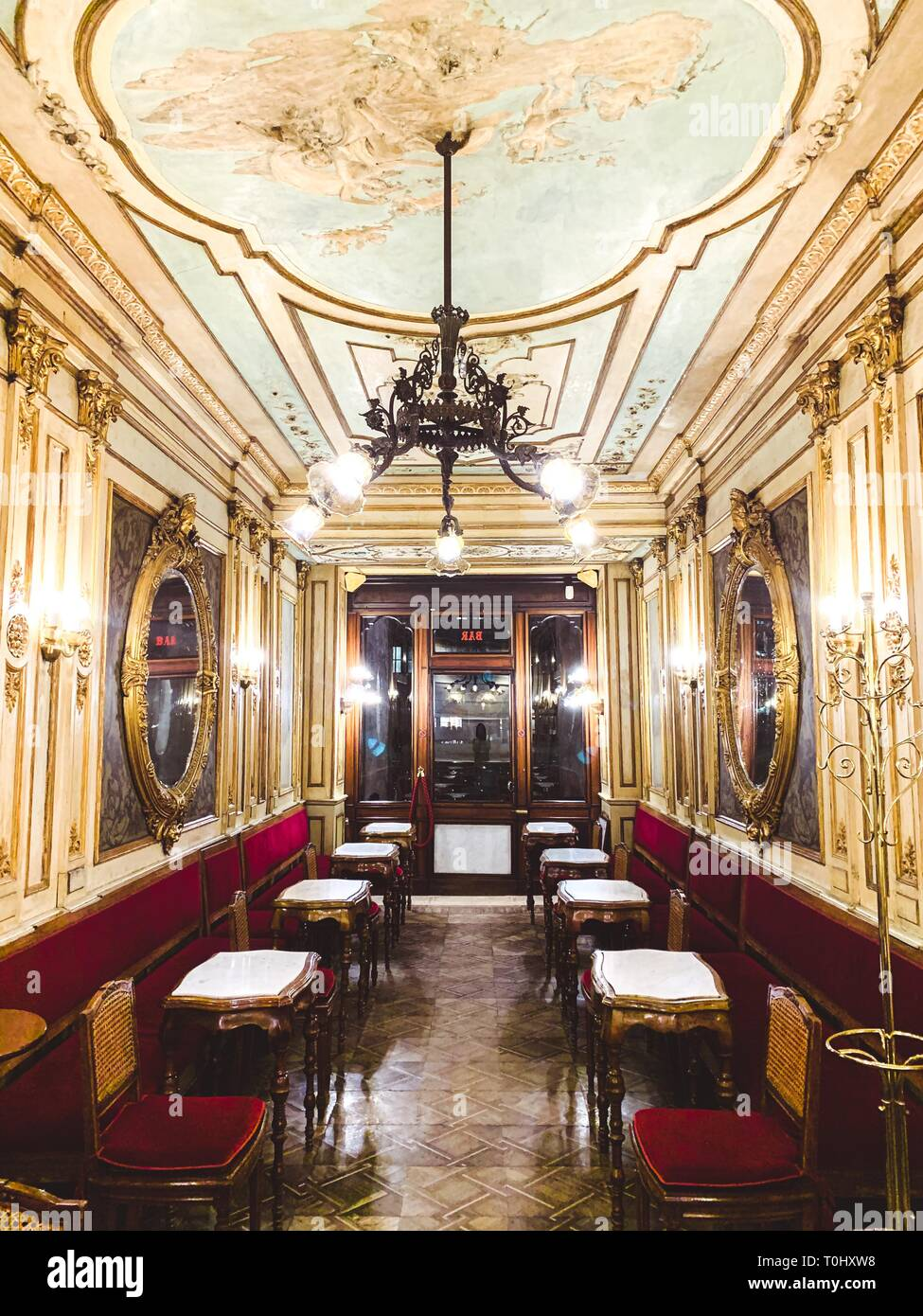 Caffe Florian, coffee house, situated in San Marco square, the oldest coffee house in continuous operation. - Stock Image