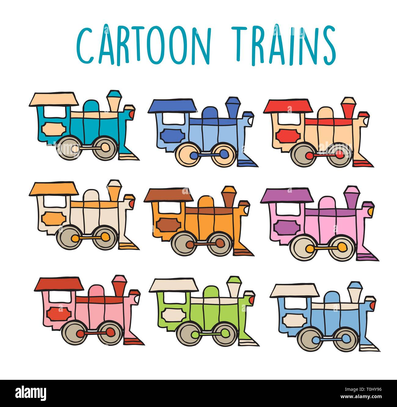Cartoon locomotive retro - Stock Image