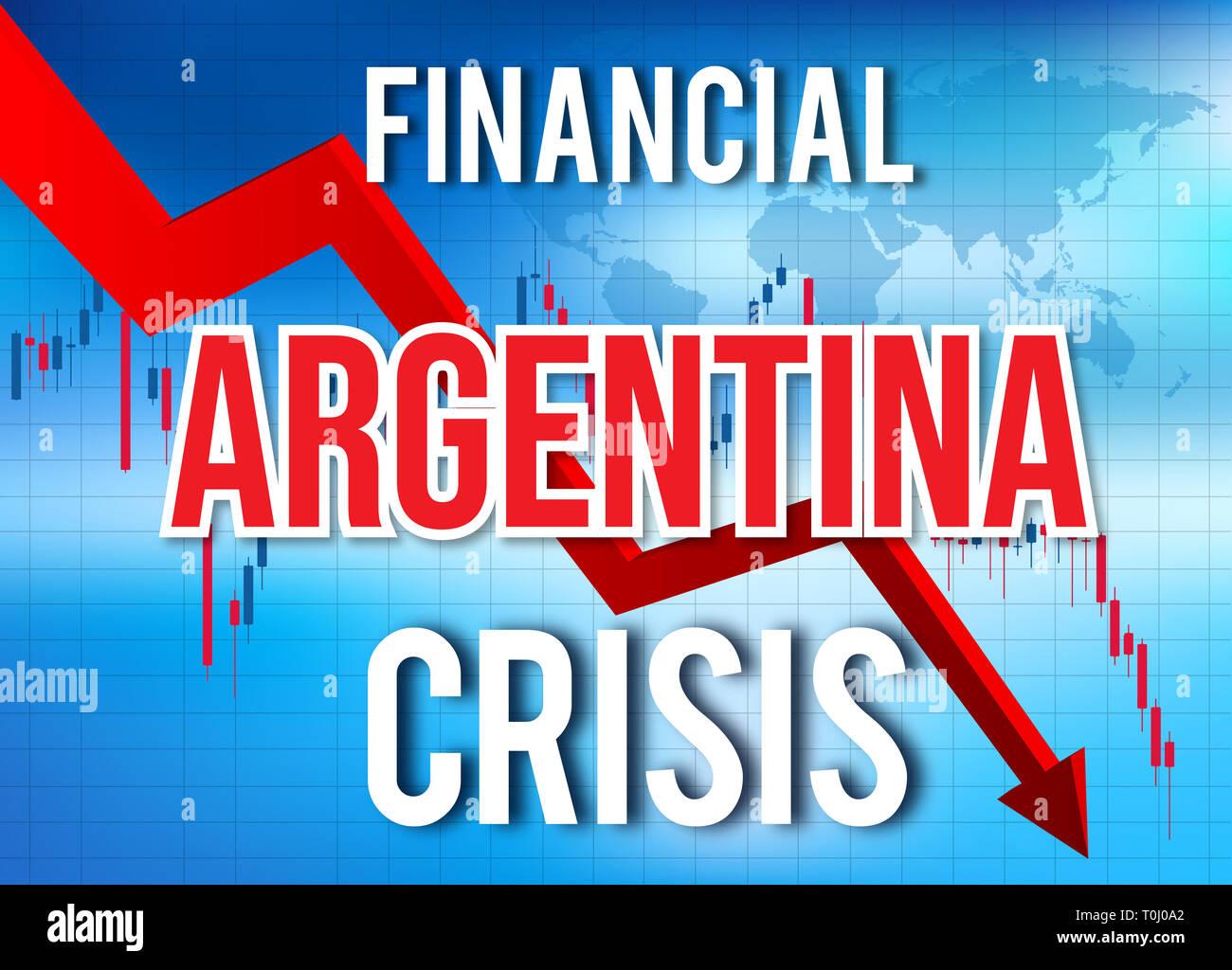 Argentina Financial Crisis Economic Collapse Market Crash Global Meltdown Illustration. - Stock Image