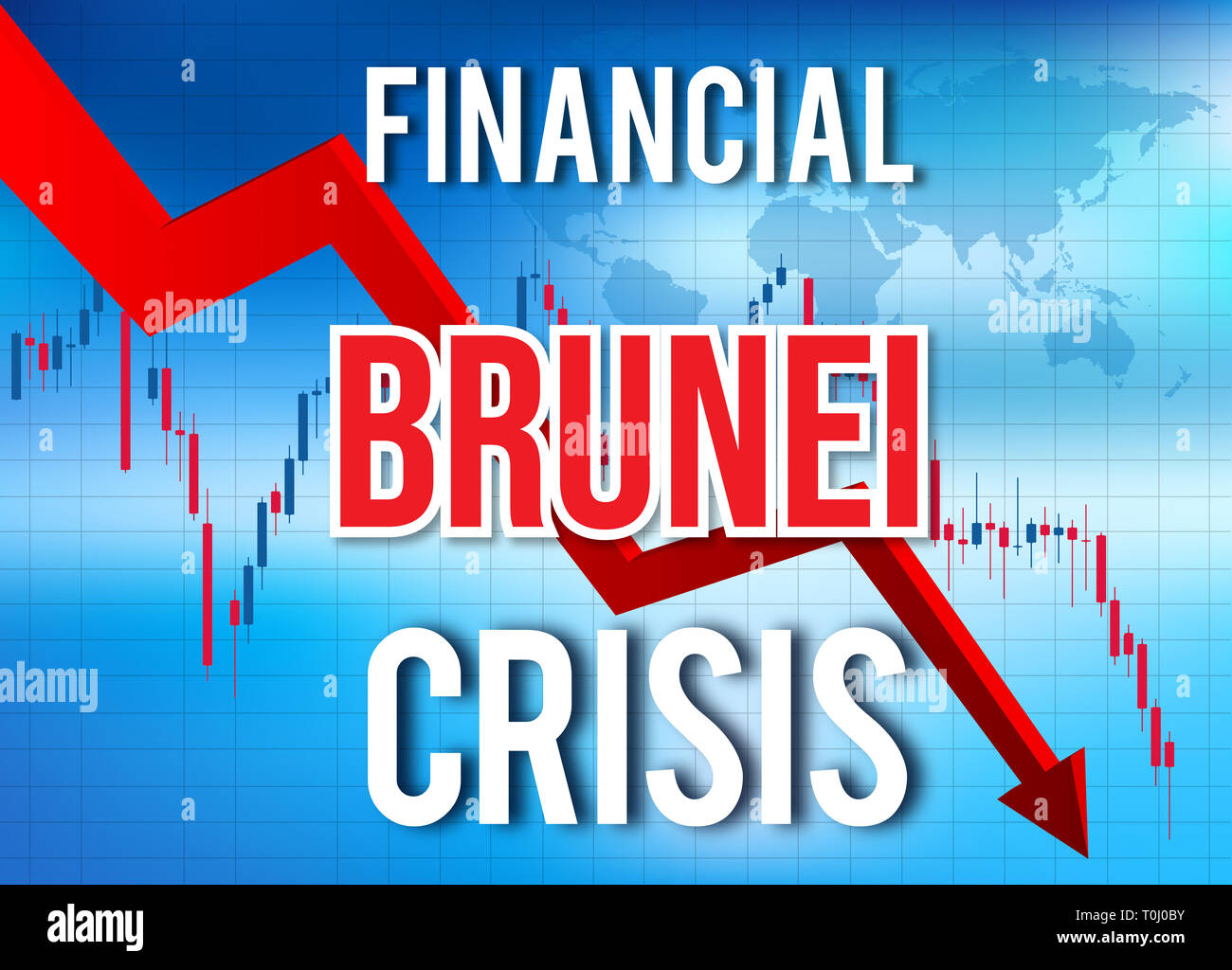 Brunei Financial Crisis Economic Collapse Market Crash Global Meltdown Illustration. - Stock Image