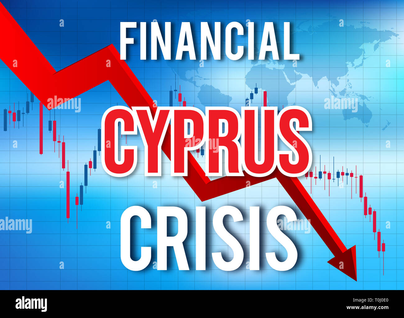 Cyprus Financial Crisis Economic Collapse Market Crash Global Meltdown Illustration. - Stock Image