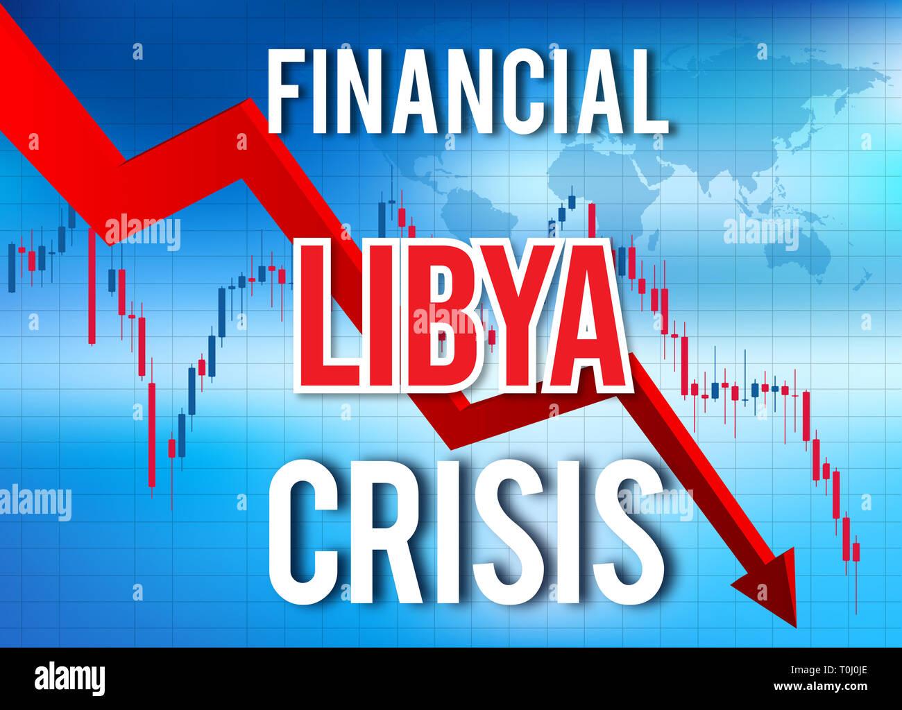 Libya Financial Crisis Economic Collapse Market Crash Global Meltdown Illustration. - Stock Image