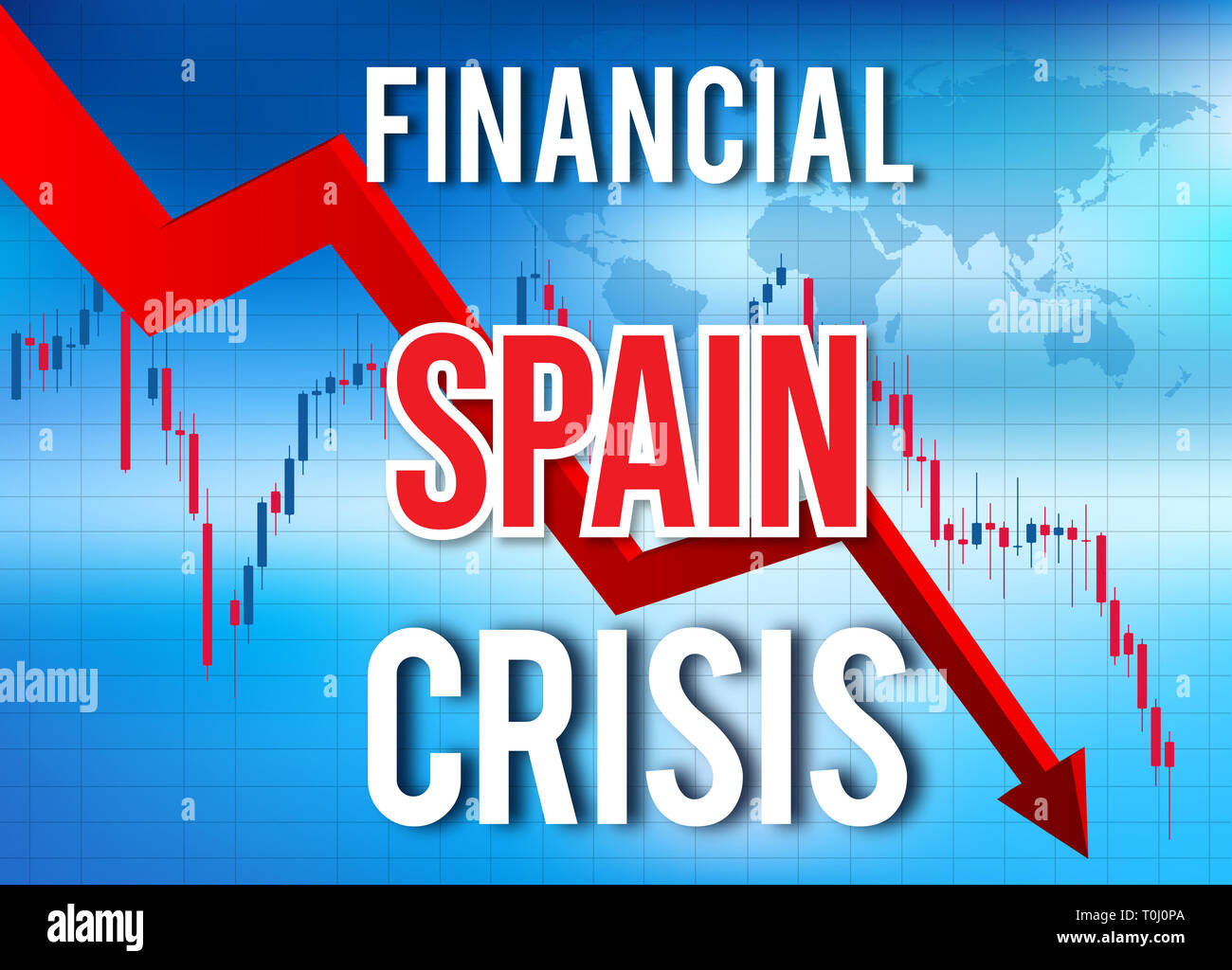 Spain Financial Crisis Economic Collapse Market Crash Global Meltdown Illustration. - Stock Image