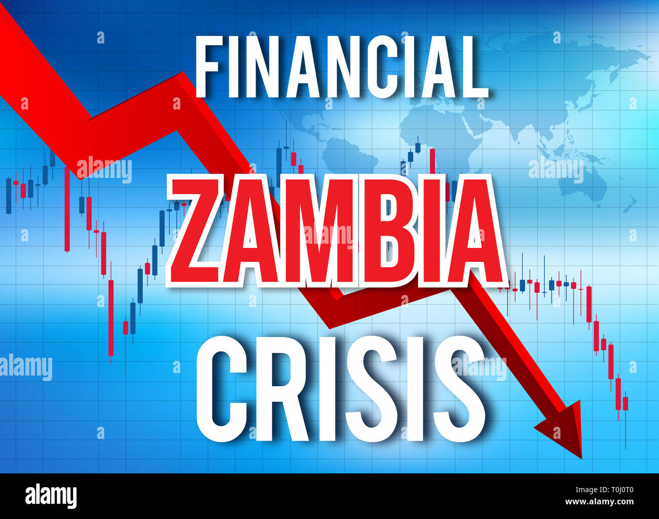 Zambia Financial Crisis Economic Collapse Market Crash Global Meltdown Illustration. - Stock Image