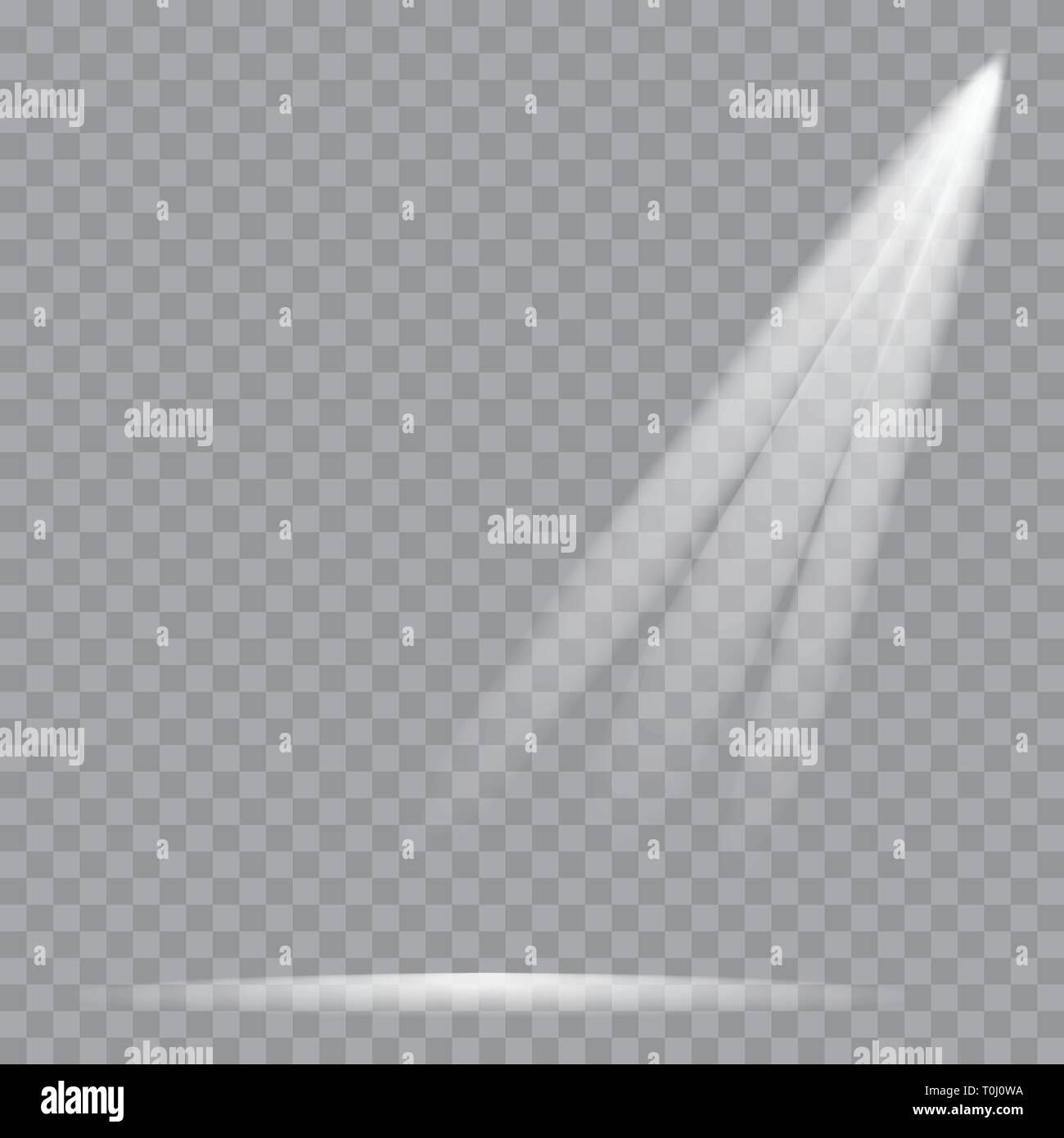 Scene illumination. Cold light effect. Stage illuminated spotlight on transparent background. Vector - Stock Vector