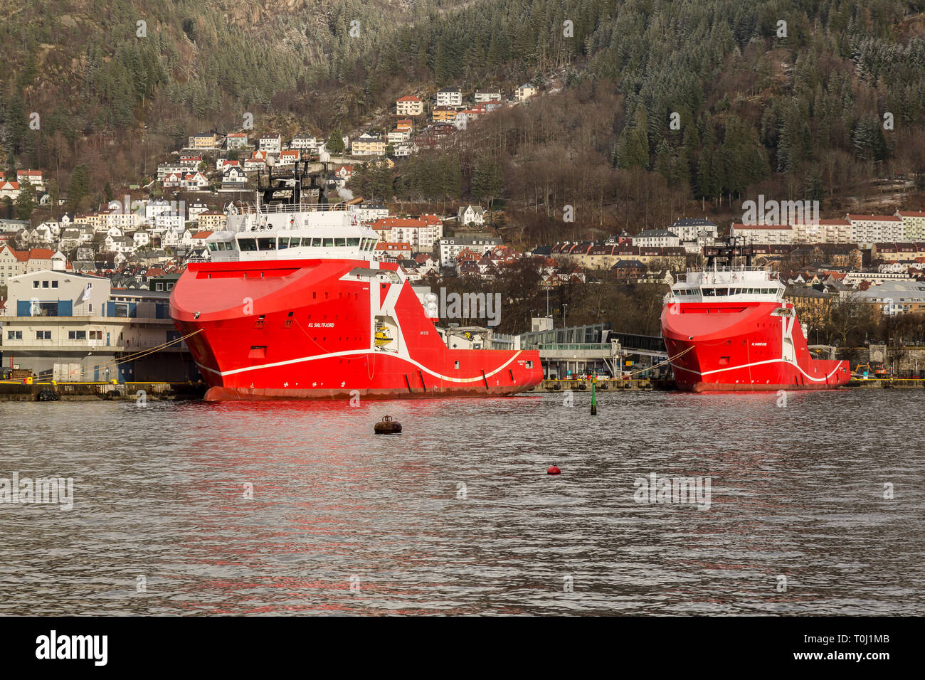 The Norwegian Off Shore Supply Ships KL Saltfjord and KL Sandefjord in the sea port of Bergen in Norway. - Stock Image