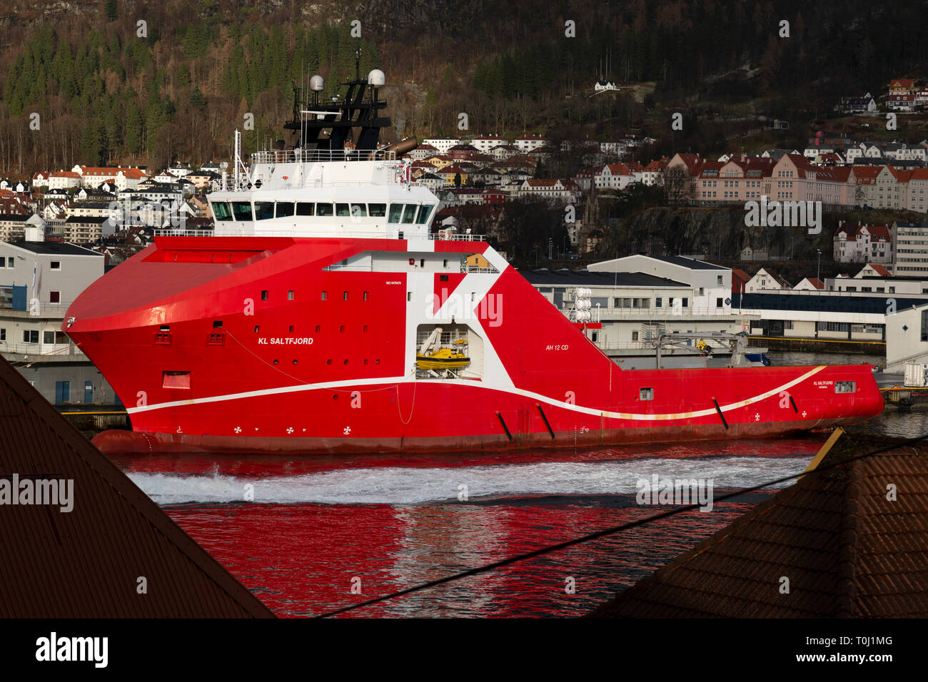 The Norwegian Off Shore Supply Ship KL Saltfjord in the sea port of Bergen in Norway. - Stock Image