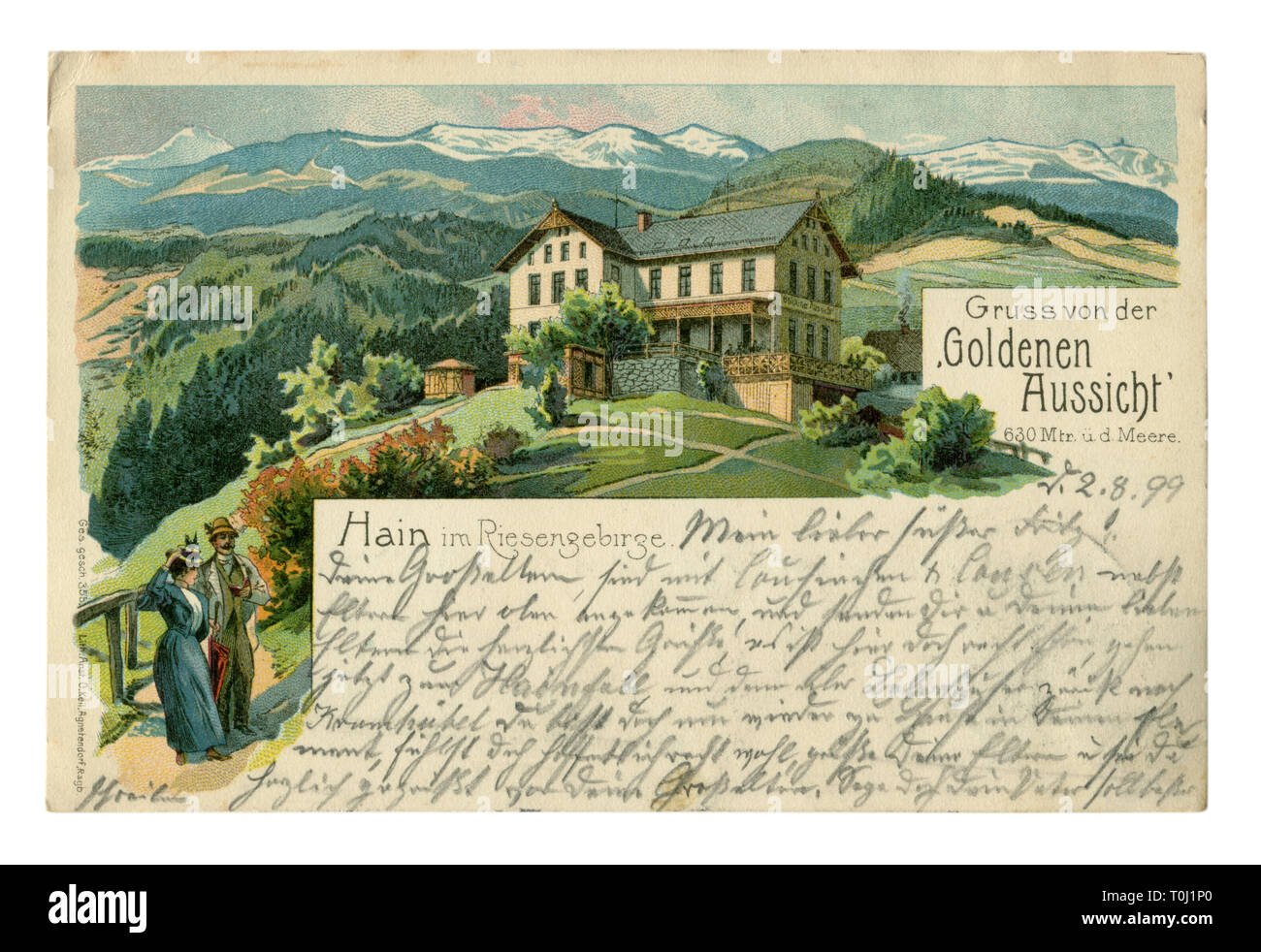 German historical advertising chromolithographic postcard: Mountain landscape with hotel 'Goldenen Aussicht'. Tourists guest house. The text letters - Stock Image