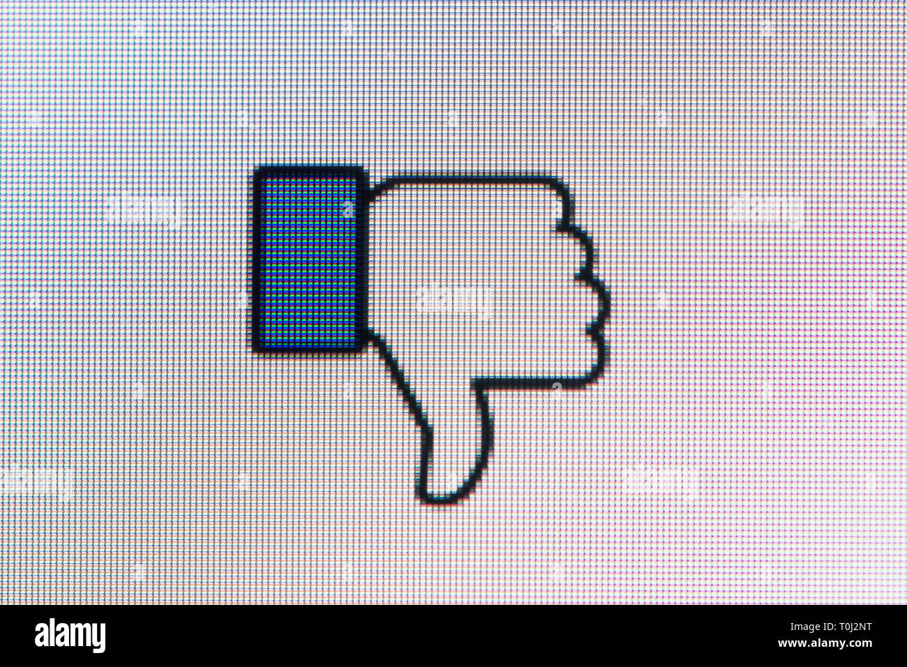 A thumbs down or dislike icon based on the Facebook like icon (Editorial use only) - Stock Image