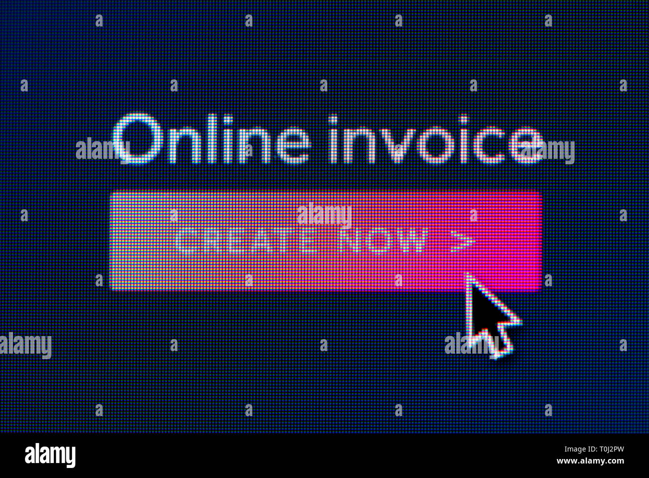 The prompt to create an online invoice is seen on a computer screen along with a mouse cursor (Editorial use only) - Stock Image