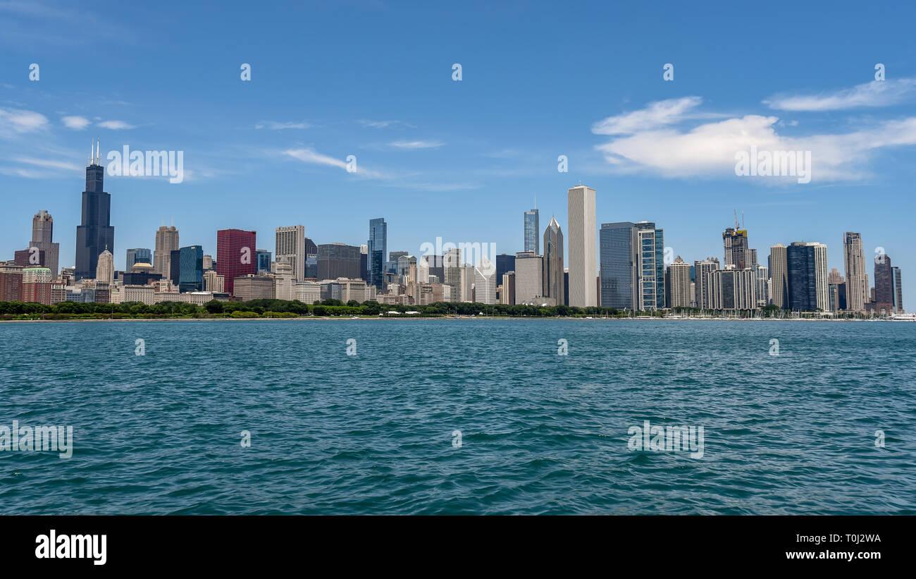 Chicago Skyline from Lake Michigan - Stock Image