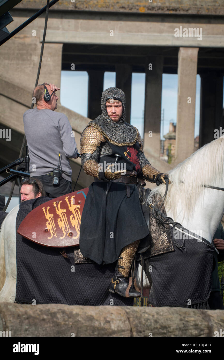 Outlaw king Filming in Berwick-upon-Tweed. - Stock Image