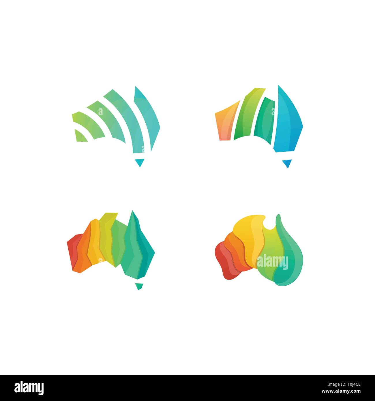 Abstract Australia Colorful Concept illustration vector Design template. Suitable for Creative Industry, Multimedia, entertainment, Educations, Shop,  - Stock Image