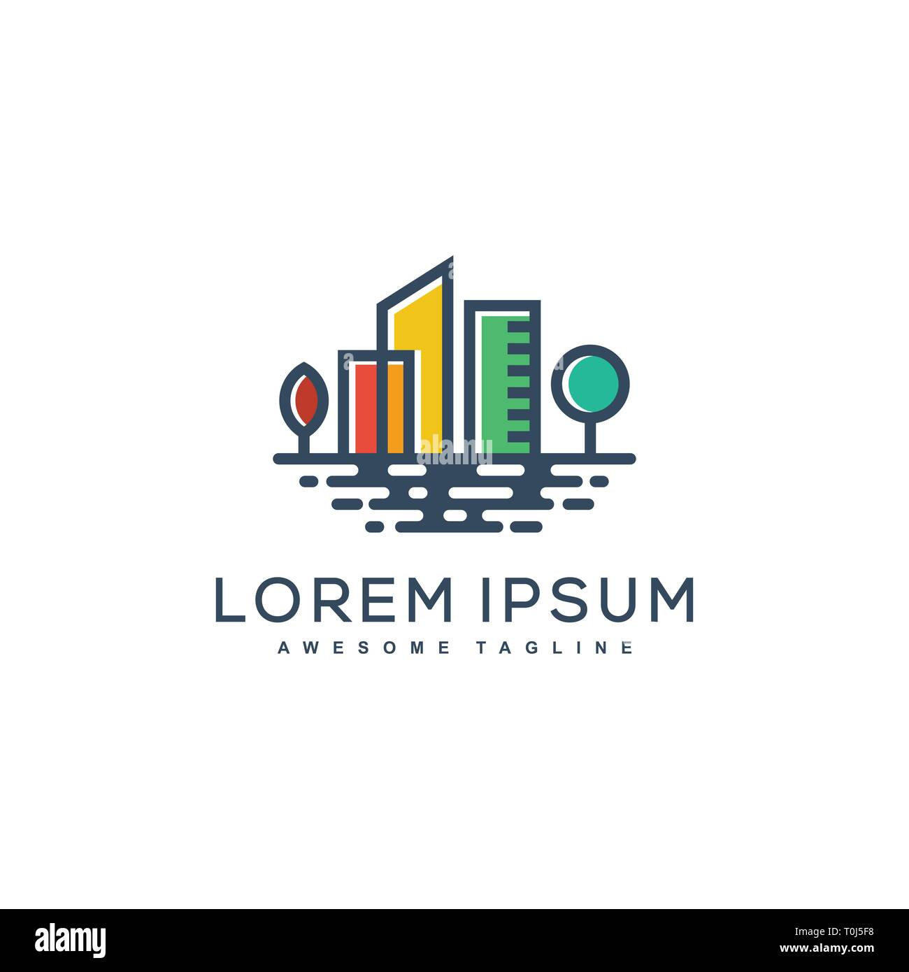 Water City Concept illustration vector template. Suitable for Creative Industry, Multimedia, entertainment, Educations, Shop, and any related business - Stock Vector