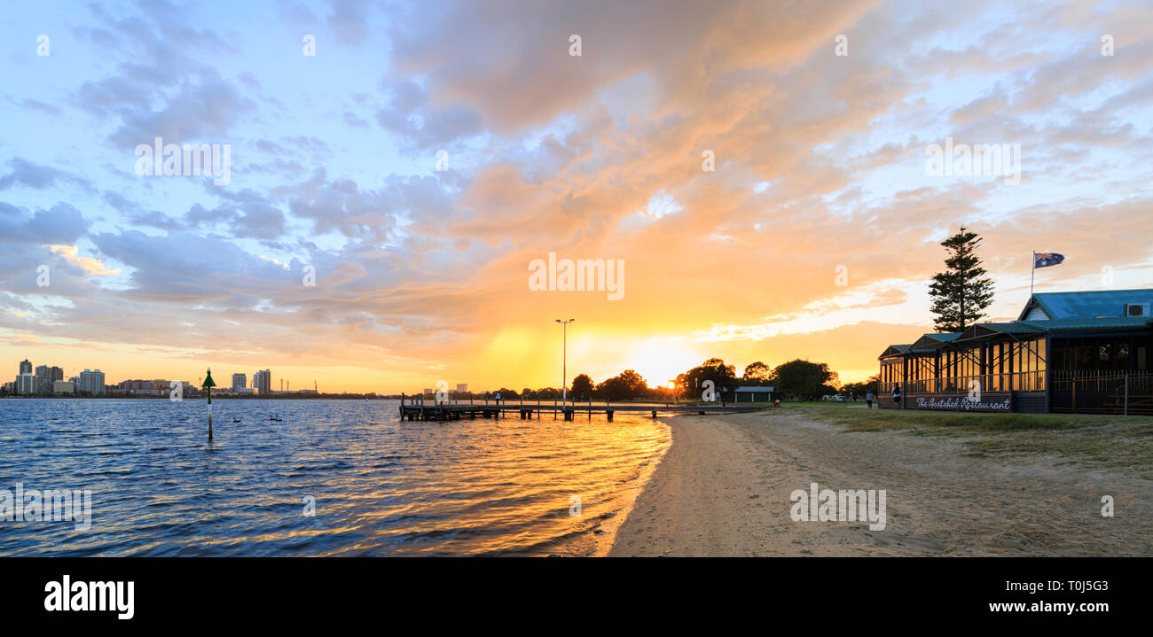 South Perth Foreshore, The Boatshed Restaurant  and Coode Street Jetty. at sunrise. WA - Stock Image