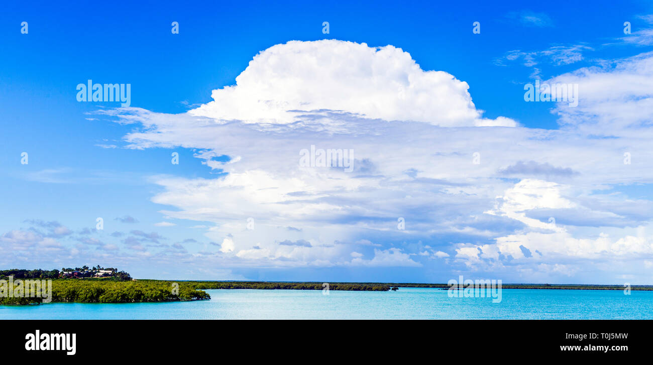 Storm clouds forming over the mangroves of Roebuck Bay. Broome, WA - Stock Image