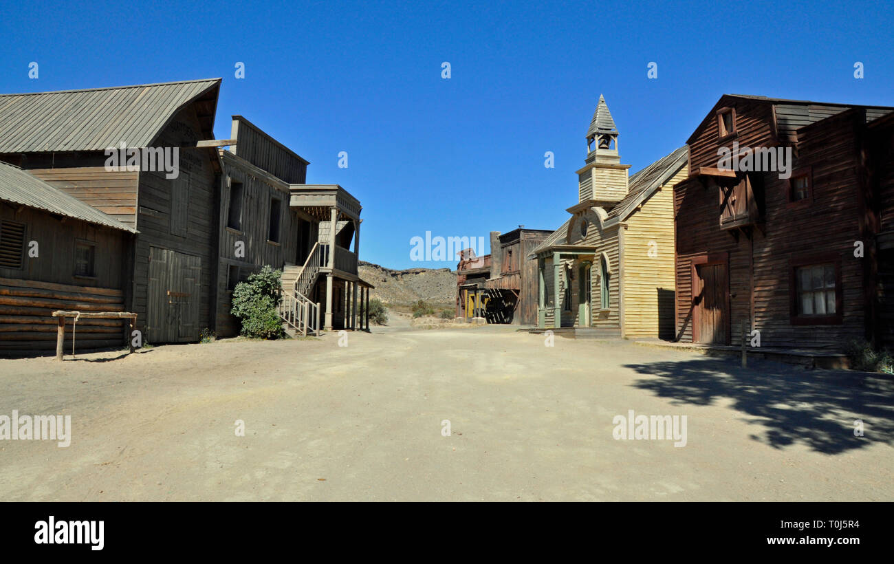 The Main Street of Western-style town, formerly a film set at Fort Bravo, near Tabernas in Almeria, Spain. - Stock Image