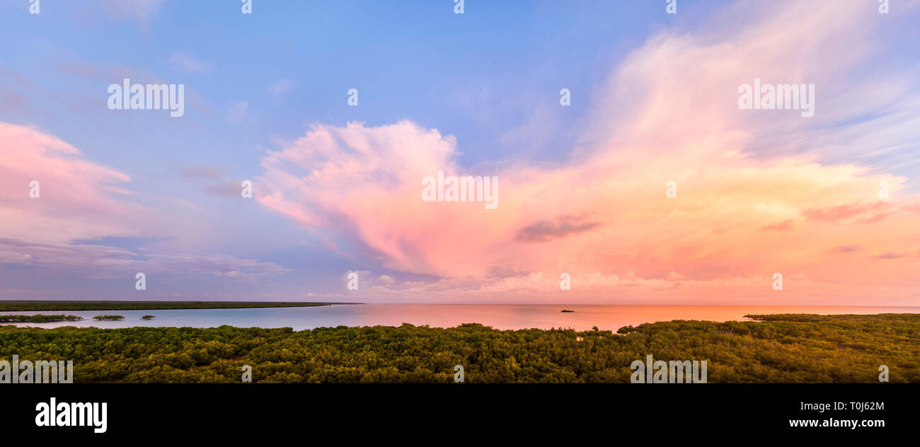 Wet Season storm clouds over the mangroves at Roebuck Bay. Broome, Western Australia - Stock Image