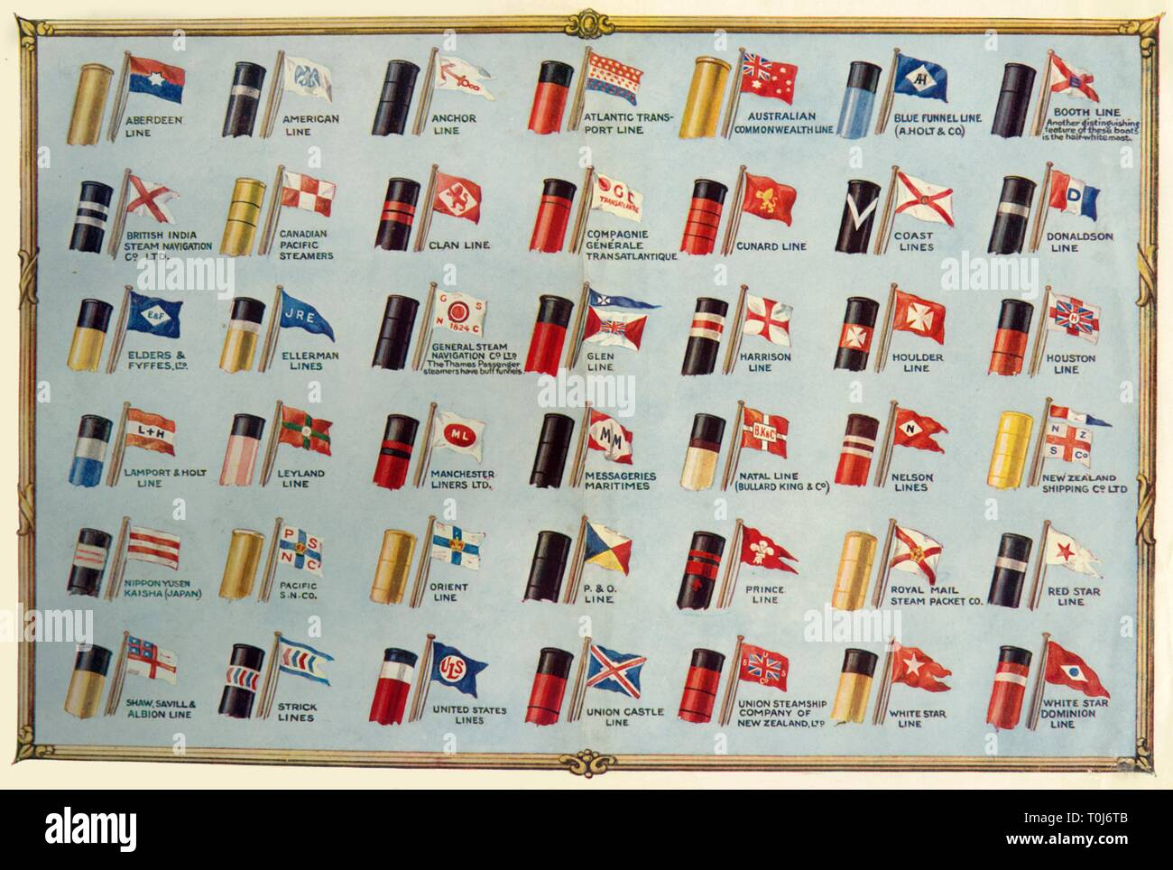 "'House Flags and Funnels of Passenger Steamship Lines', c1930. From ""The Wonder Book of Ships"", edited by Harry Golding. [Ward, Lock & Co., Limited, London and Melbourne, ] - Stock Image"