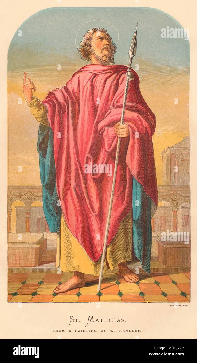 'St. Matthias', mid-late 19th century. Saint Matthias depicted with a spear. [Leighton Bros, London] - Stock Image