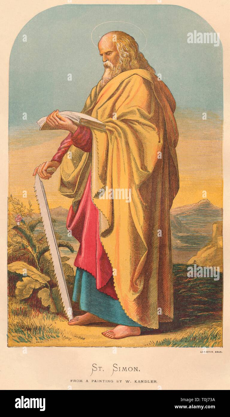 'St. Simon', mid-late 19th century. Simon with his identifying attribute of a saw - he was martyred by being sawn in half. [Leighton Bros, London] - Stock Image