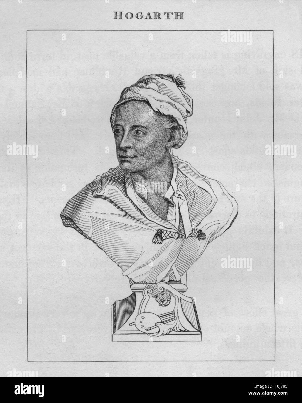 """'Hogarth', c1741, (1809). Portrait of English artist and satirical printmaker William Hogarth (1697-1764). Engraving after the terraccotta bust made c1741 by Louis Francois Roubiliac. [Longman, Hurst, Rees & Orme, London, 1809]. From """"The Works of Wiliam Hogarth"""", Volume II, by The Rev. John Trusler. [J. Goodwin, London, 1827] - Stock Image"""