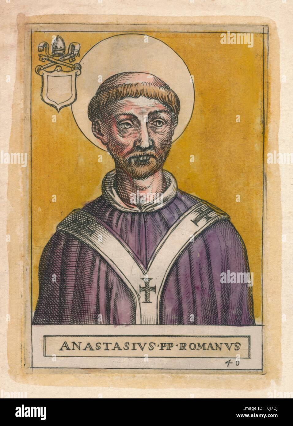 Pope Anastasius I. 'Anastasius PP Romanus'. Portrait of Pope Anastasius I (died 401 AD) who was succeeded by his son, Pope Innocent I, probably a unique case of the papacy passing from father to son. - Stock Image
