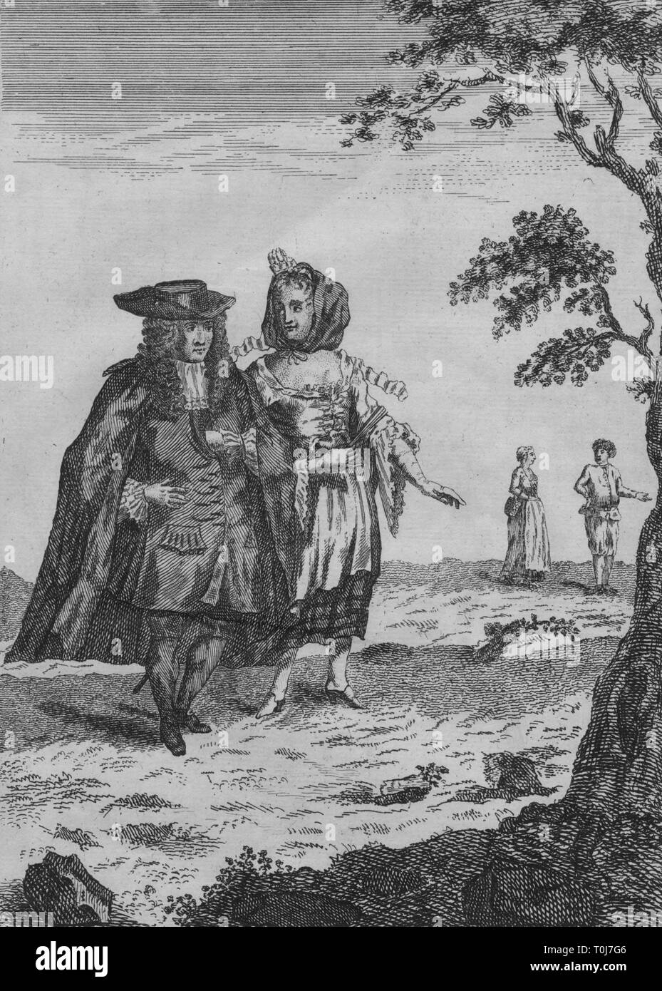 'A Burgomaster and His Wife', late 17th-early 18th century? A burgermeister, (or burgomaster, chief magistrate or executive of a city or town), wearing a frock coat, cloak and hat. His wife wears a low-cut dress and a snood over her hair. - Stock Image