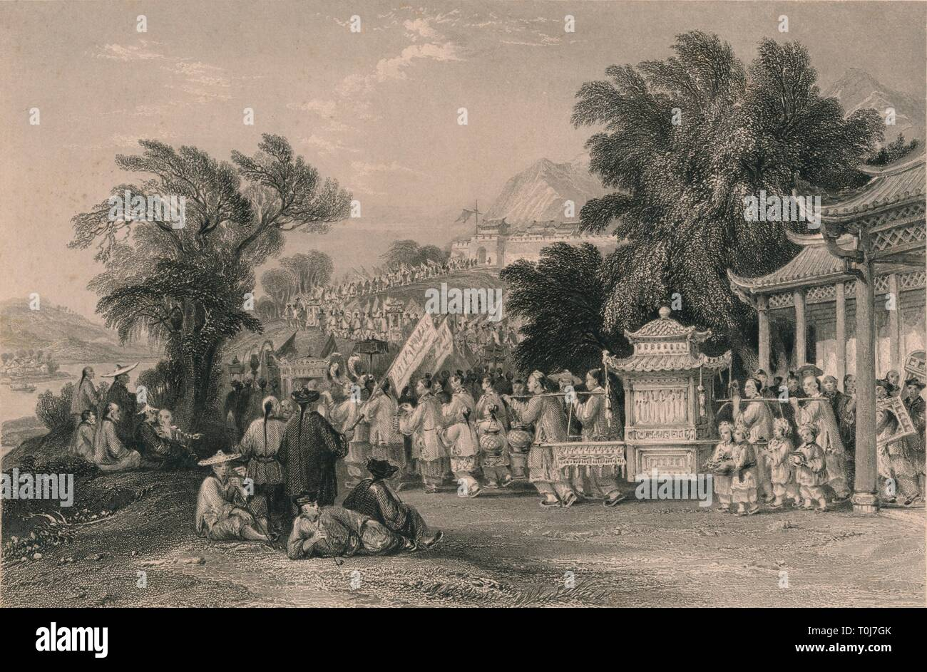 'Marriage Procession at the Blue-cloud Creek, Chin-keang-foo', c1843-1858. Chinese wedding procession with the bride being carried in a palanquin. [Fisher, Son & Co., London & Paris] - Stock Image