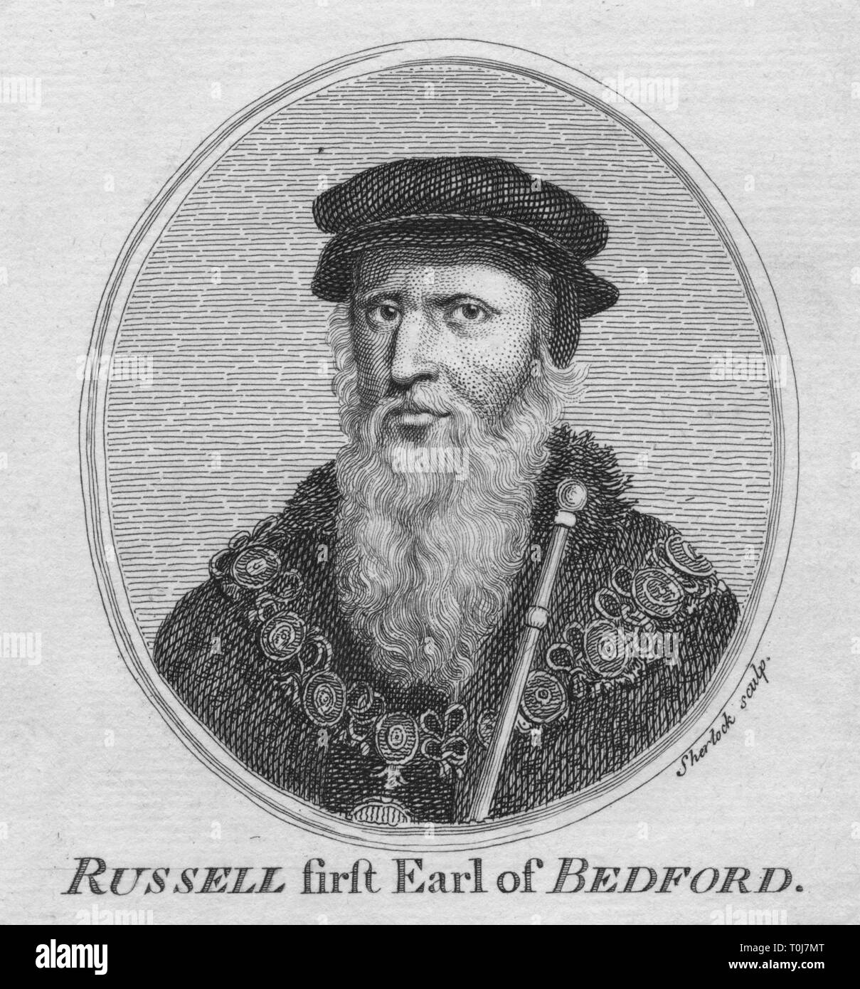'Russell first Earl of Bedford', (1757). Portrait of English royal minister John Russell, 1st Earl of Bedford (c1485-1555). He held the offices of Lord High Admiral and Lord Privy Seal at the court of King Henry VIII. - Stock Image