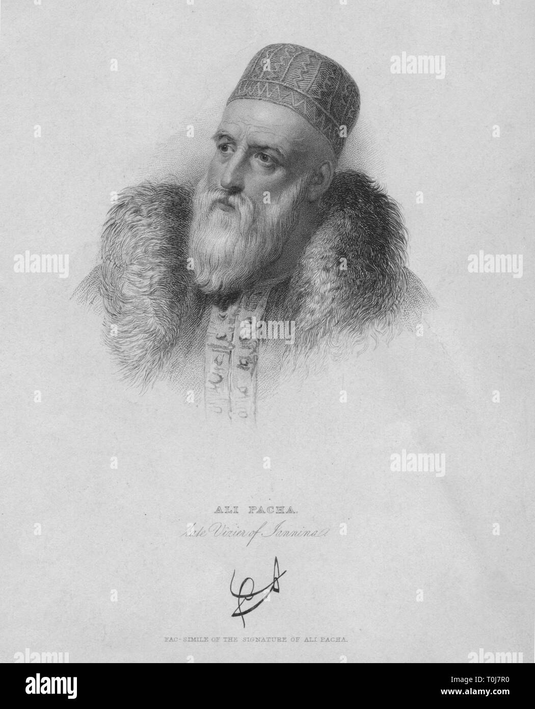 'Ali Pacha', (1832). Portrait of Ali Pasha of Tepelena (1740-1822), the Lion of Yannina, Albanian ruler who served as an Ottoman pasha of the western part of Rumelia (Balkans). His rule was characterised by by murders and extortions, and he was assassinated in the Monastery of St Panteleimon in Ioannina, northern Greece. [John Murray, London, 1832] - Stock Image