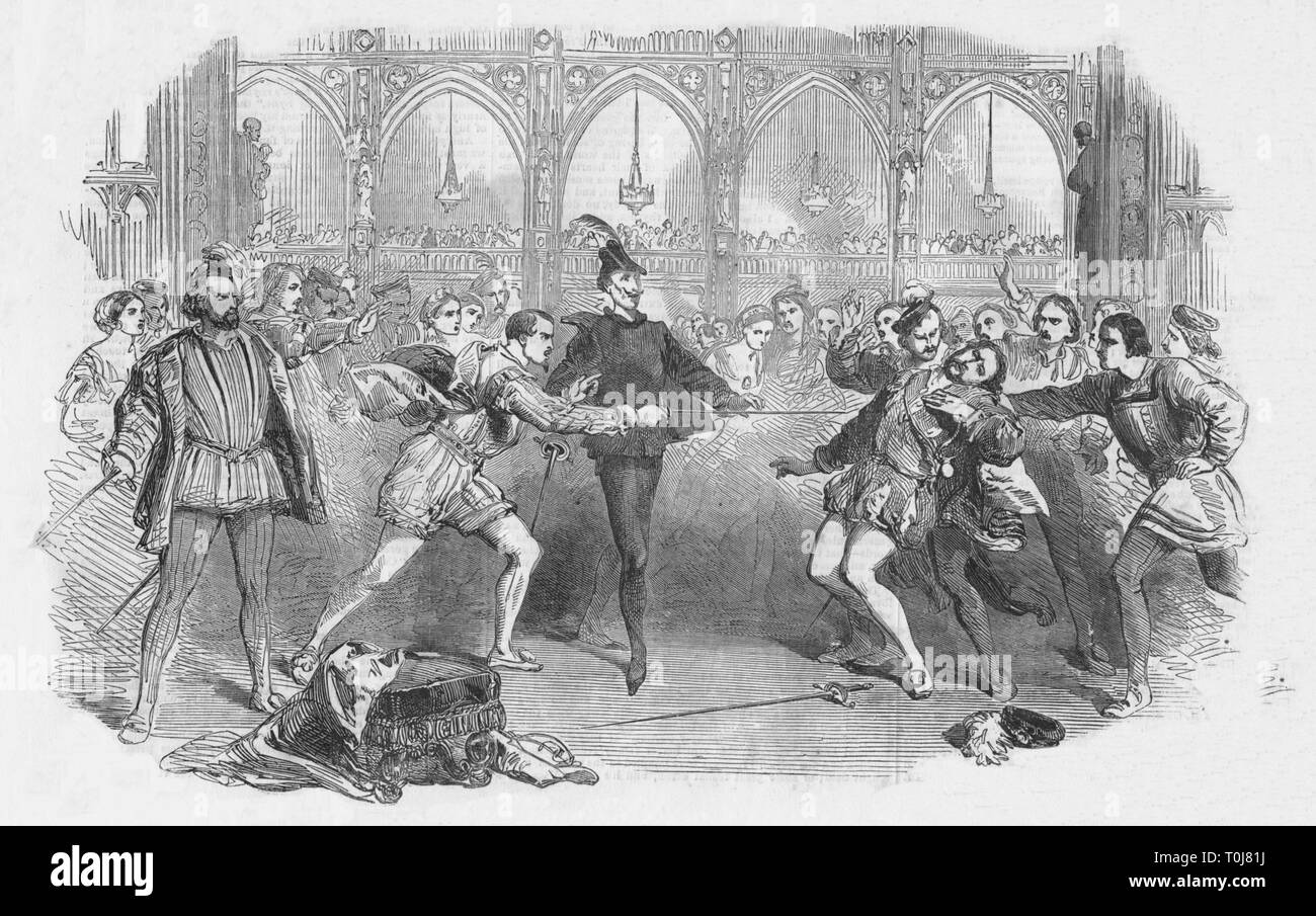 """'Scene from Spohr's """"Faust"""", at the Royal Italian Opera', 1852. Count Hugo challenges Faust to a duel. Faust kills Hugo and flees. Production of the opera """"Faust"""" by German composer, violinist and conductor Louis Spohr (1784-1859) at the Royal Italian Opera (later the Royal Opera House) in London. From """"The Illustrated London News"""" Supplement, 31 July 1852. - Stock Image"""