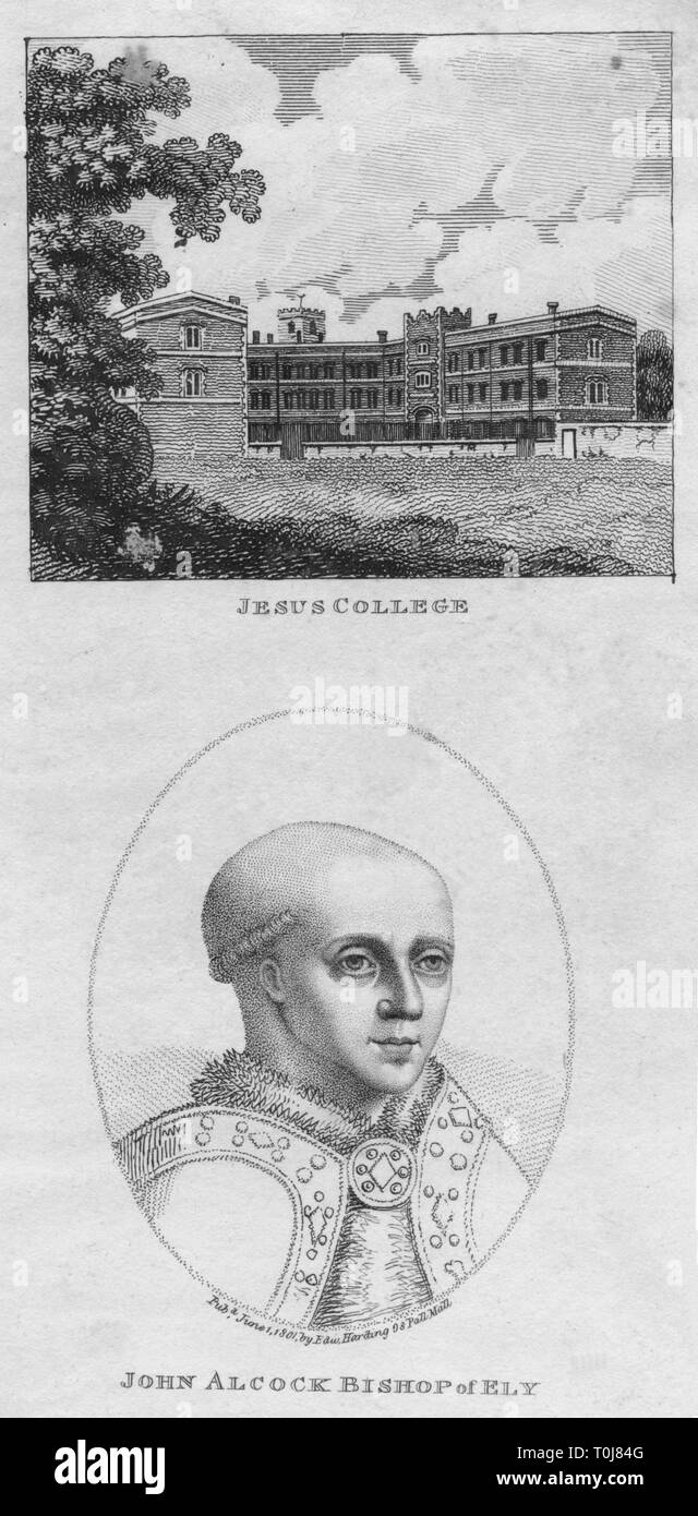 'Jesus College; John Alcock Bishop of Ely', 1801. View of Jesus College, Cambridge, and a portrait of its founder, John Alcock (c1430-1500), English churchman, bishop and Lord Chancellor. [Edward Harding, London, 1801] - Stock Image