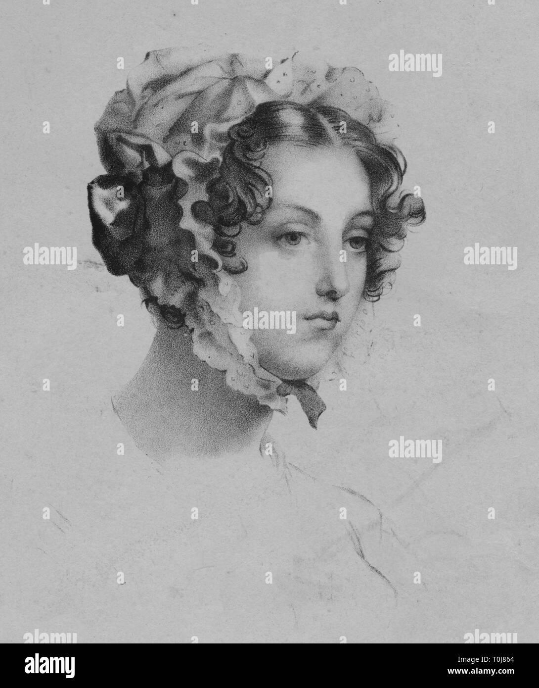 Woman wearing a bonnet, 1820s. 'Fac-simile d'un dessin de Girodet-Trioson', (facsimile of a drawing by Girodet-Trioson). [Chaillou-Potrelle, Paris, c1825] - Stock Image