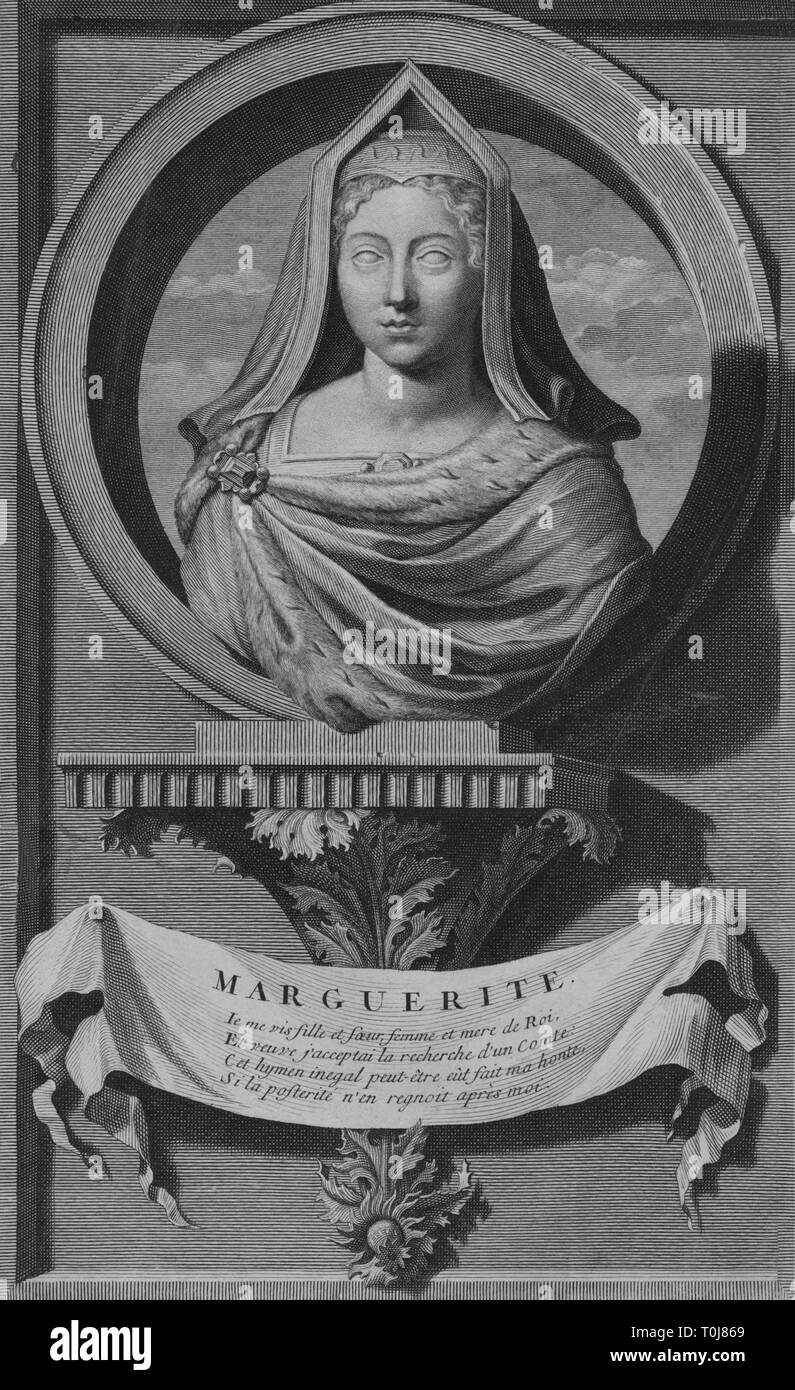 'Marguerite', (late 17th-early 18th century). Portrait of Margaret Tudor (1489-1541), Queen consort of King James IV of Scotland and elder sister of King Henry VIII. Engraving of Margaret depicted as a classical bust in a roundel on a bracket of acanthus leaves, with a poem in French below. - Stock Image