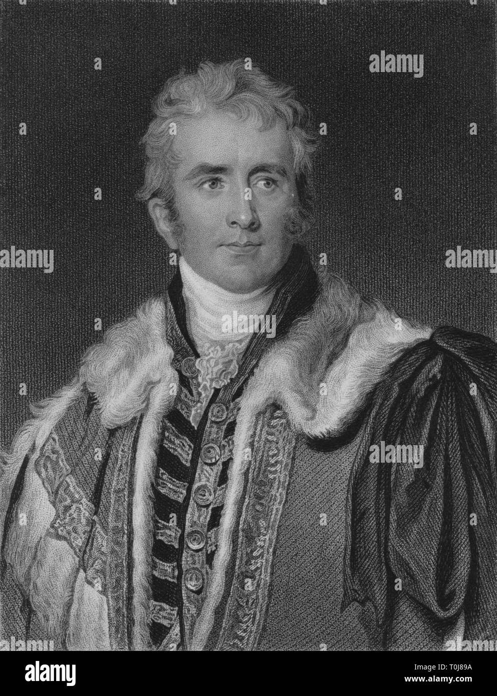 'William Pitt Amherst, Earl Amherst', early 19th century. Portrait of William Pitt Amherst, 1st Earl Amherst (1773-1857). Governor-general of India. Amherst was sent as Ambassador to China in 1816, but as he refused to perform the ceremony of kow-tow, which Europeans considered degrading, he was not permitted to enter Peking. Pitt was Governor-General of India from 1823-1828, and was created Earl Amherst of Arakan in 1826. [Fisher, Son & Co., London] - Stock Image
