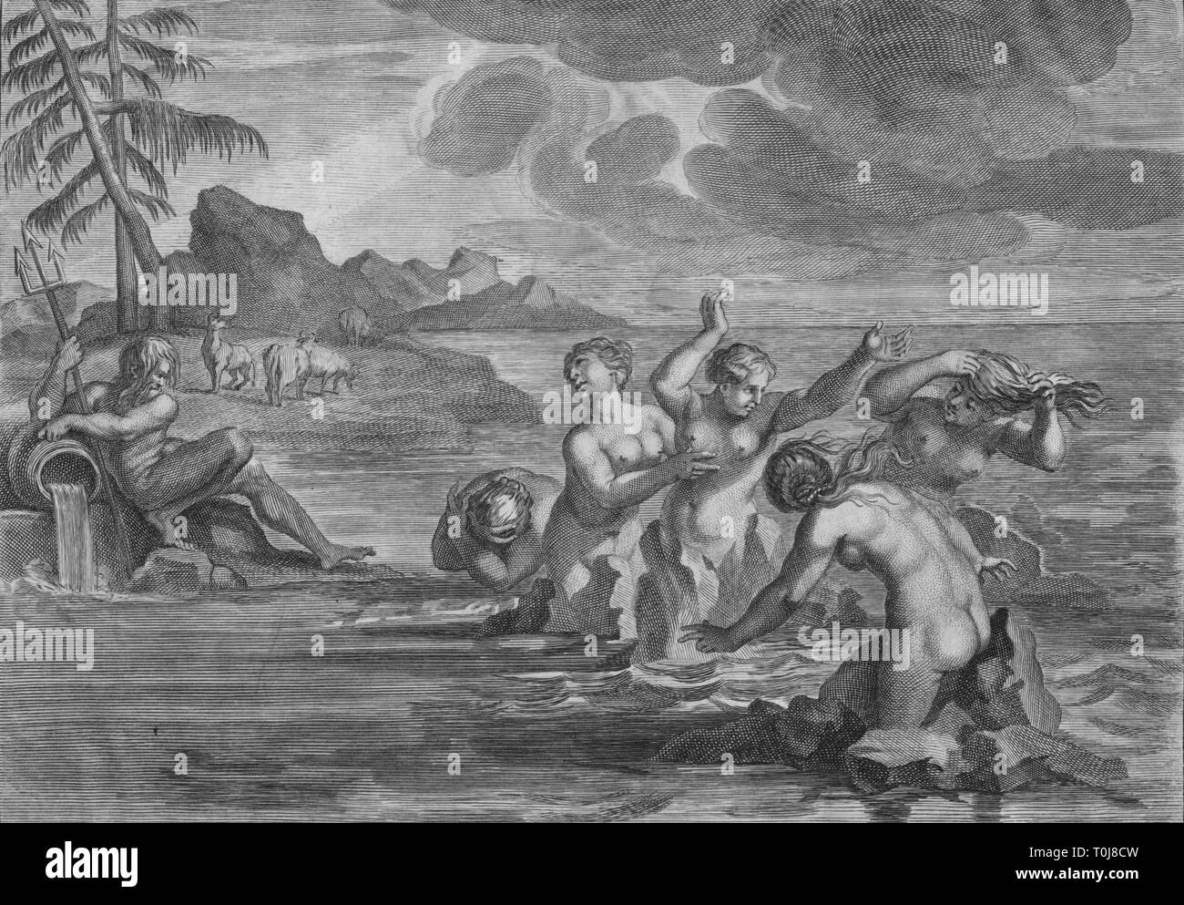"""'The Cerastae changed into Bulls, & the Propoetides into Rocks', c1683. A scene from Ovid's """"Metamorphoses"""". - Stock Image"""