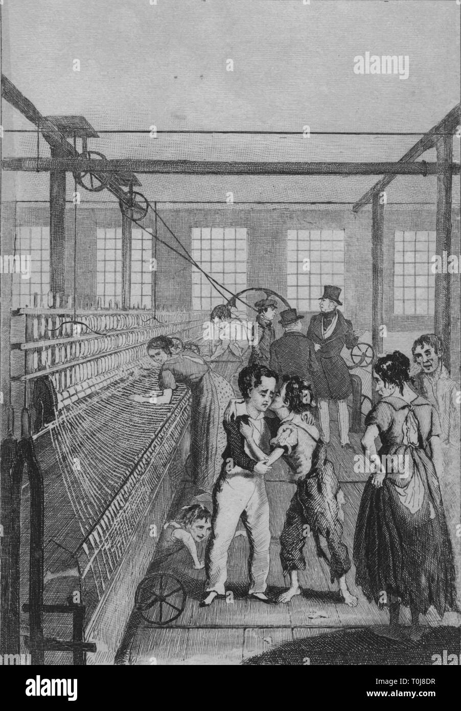 "'Love Conquered Fear', c1840. Ragged child workers in a Victorian textile factory. British writer Frances Trollope visited Manchester in 1832 to witness the condition of children employed in the textile mills there. Children were often forced to work twelve hours a day in very dangerous conditions for little pay. The factory owners exploited their size and nimbleness, making them climb under the looms to remove dust and threads while the machines were still moving, often resulting in injury or death. From ""The life and adventures of Michael Armstrong, the factory boy"" by Frances Trol - Stock Image"