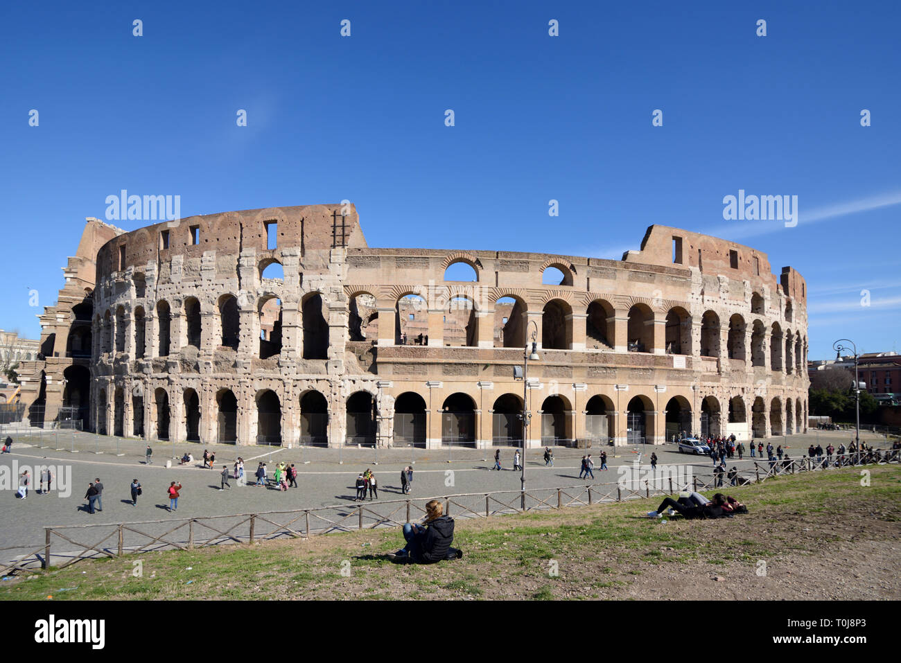 Exterior of the Colosseum, or Coliseum, or Flavian Amphitheatre (70-80AD) Roman Monument, Rome, Italy - Stock Image