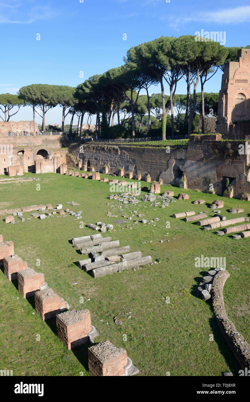 Domitian's Stadium or Sunken Garden, part of the Imperial Palace of Domitian (51-96AD), on Palatine Hill and Gardens, Rome, Italy - Stock Image