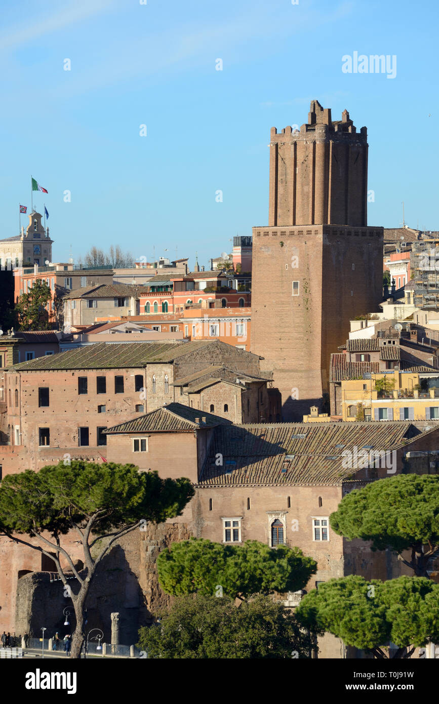 The Medieval Defence Tower, built 1200, Torre delle Milizie or Militia Tower added to the earlier Trajan's Market Complex & Trajan's Forum Rome Italy - Stock Image