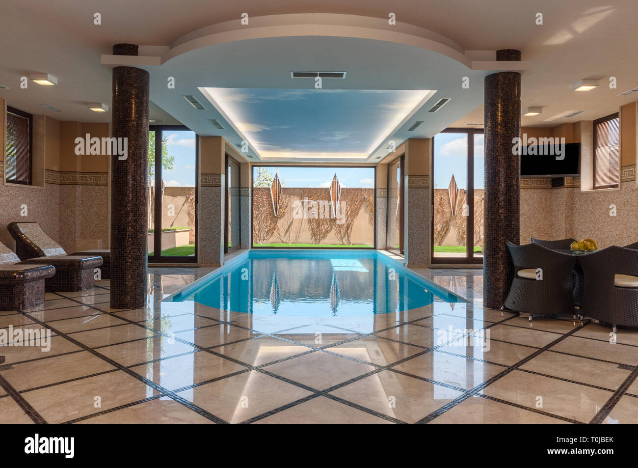 Luxurious Marble Home Spa Interior With Indoor Swimming Pool In Modern Contemporary House Non Us Interior Stock Photo Alamy