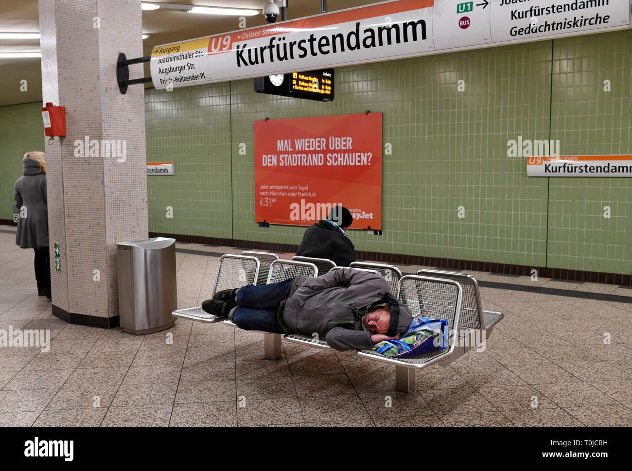 Homeless, subway station, Kurfürstendamm, Charlottenburg, Berlin, Germany, Obdachloser, U-Bahnhof, Deutschland - Stock Image