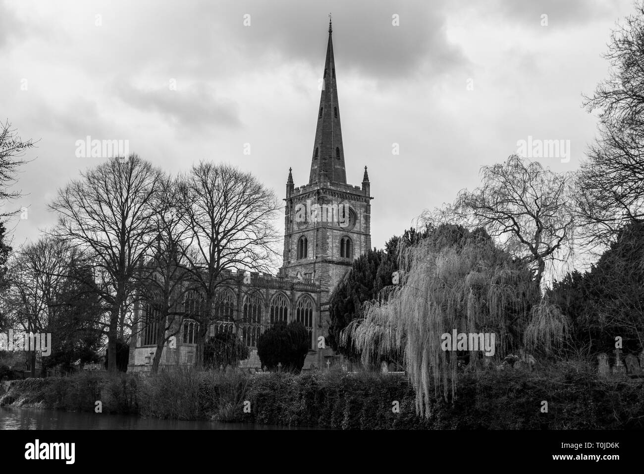 River view of Holy Trinity Church, Stratford Upon Avon - England UK - Stock Image