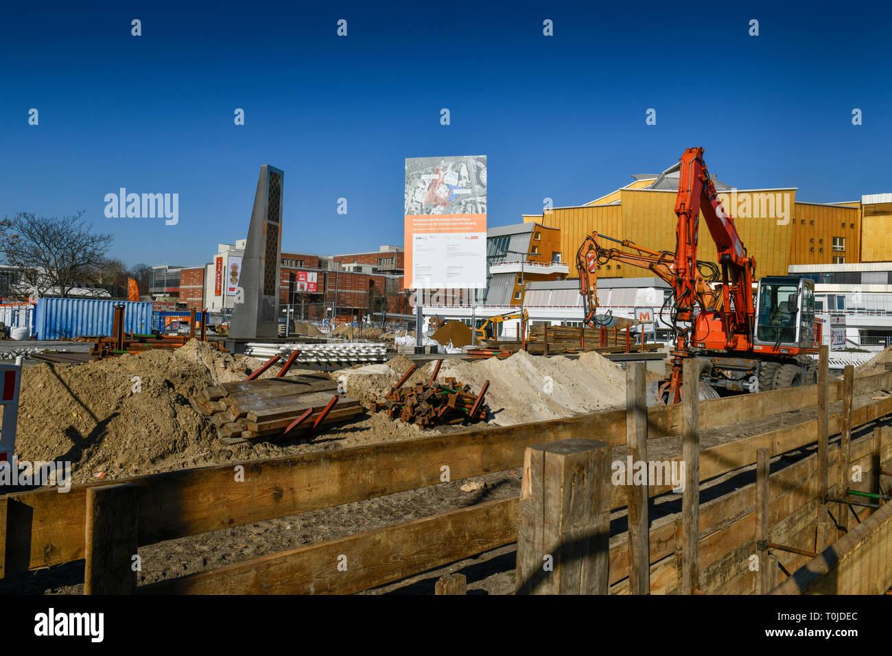 Construction works, cultural forum, Potsdam street, zoo, middle, Berlin, Germany, Bauarbeiten, Kulturforum, Potsdamer Straße, Tiergarten, Mitte, Deuts - Stock Image