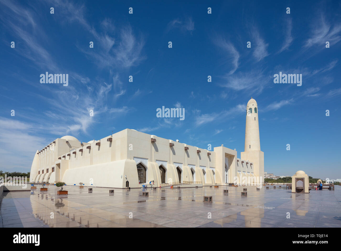 exterior, Imam Muhammad ibn Abd al-Wahhab Mosque, Doha (the Qatar State Mosque) is the national mosque of Qatar. Stock Photo